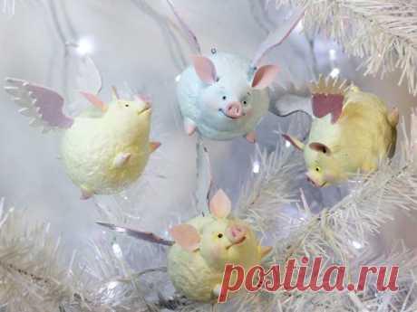 Мастер-класс смотреть онлайн: Мастерим подвеску на елку «Крылатая зефирная свинка»   Журнал Ярмарки Мастеров