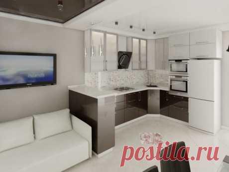 Дизайн гостиной, совмещенной с кухней 18, 20, 25 кв м + фото