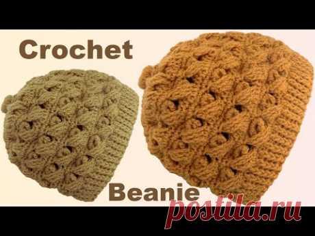 Gorro a Crochet en punto cruzado en relieve 3D con cadenas tejido con ganchillo