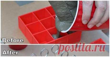 Выглядело странно, когда она налила цемент в лотке для кубиков льда. Но результат- Круто!