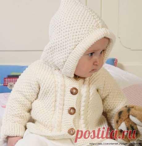 Жакет с капюшоном для малышей от 1-3 месяцев до 3-4 лет (Вязание спицами) | Журнал Вдохновение Рукодельницы