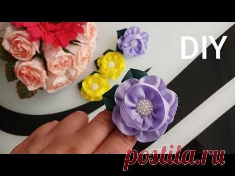 Простые цветы из ленты / Flori din panglică / Slowly / Bow