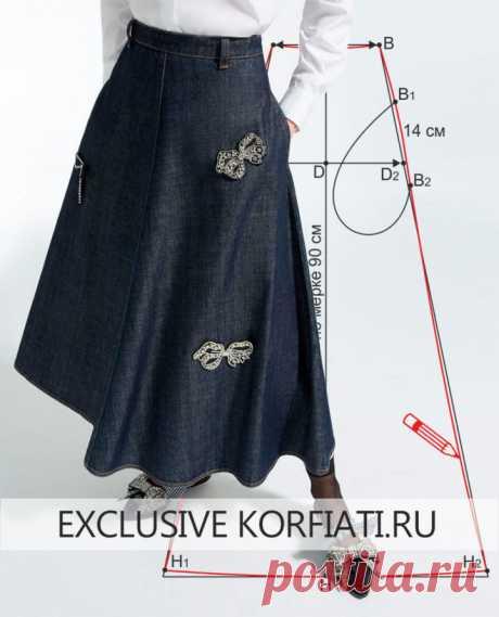 Выкройка юбки четырехклинки от Школы шитья Анастасии Корфиати