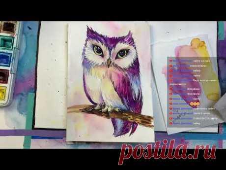 Рисуем сову акварелью