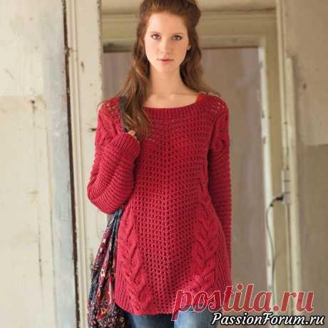 Красный джемпер в стиле оверсайз - запись пользователя Nataliya55 (Наталия) в сообществе Вязание спицами в категории Вязание для женщин спицами. Схемы вязания спицами