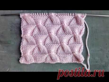 Фактурный узор спицами Самолетики / Простой узор с косами для вязания шапок, свитеров