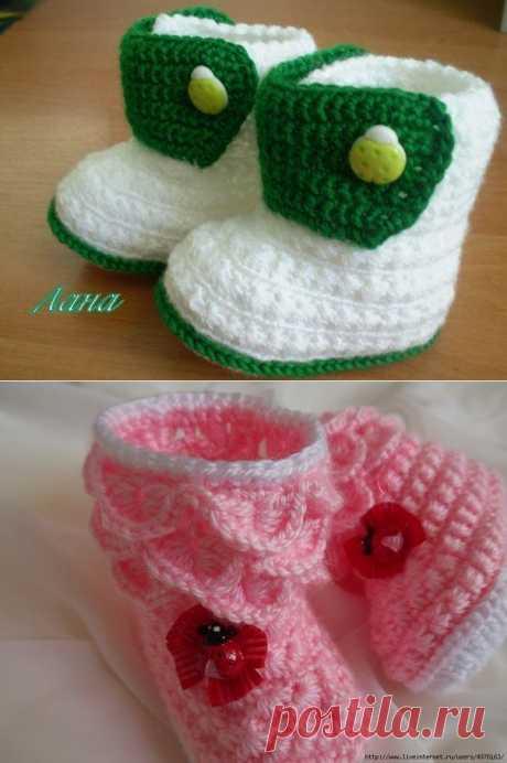 Вязание: детские пинетки- ботиночки (0-3 мес.).