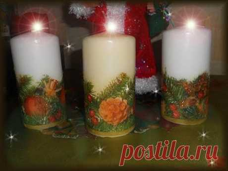 🌲 Новогодняя свеча  Декупаж