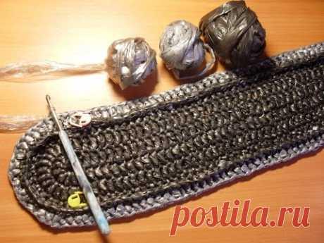 Вязание овального коврика из полиэтиленовых пакетов. Ряды 1-4