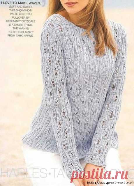 """Нежный женский пуловер со спущенными петлями """"Листья"""""""