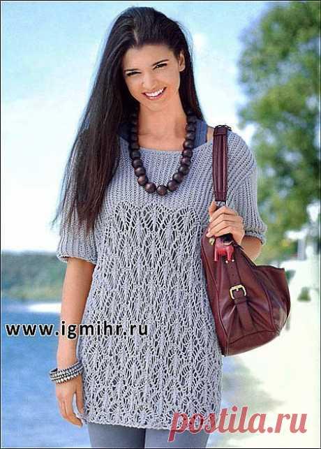 Светло-серый пуловер (вязание спицами)