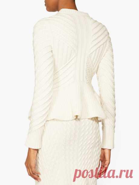 Peplum-hem wool-blend cardigan | Alexander McQueen | MATCHESFASHION