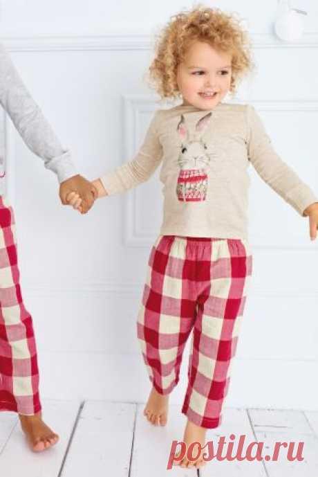 Купить Красная/серая клетчатая пижама с кроликом (12 мес. - 8 лет) - Покупайте прямо сейчас на сайте Next: Россия