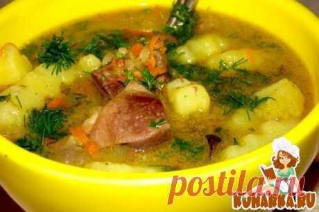 Рецепт: Суп из гусиных потрохов с лапшой