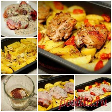 La gallina marinado en el kéfir, zapech±naya con las patatas con las hierbas y el ajo