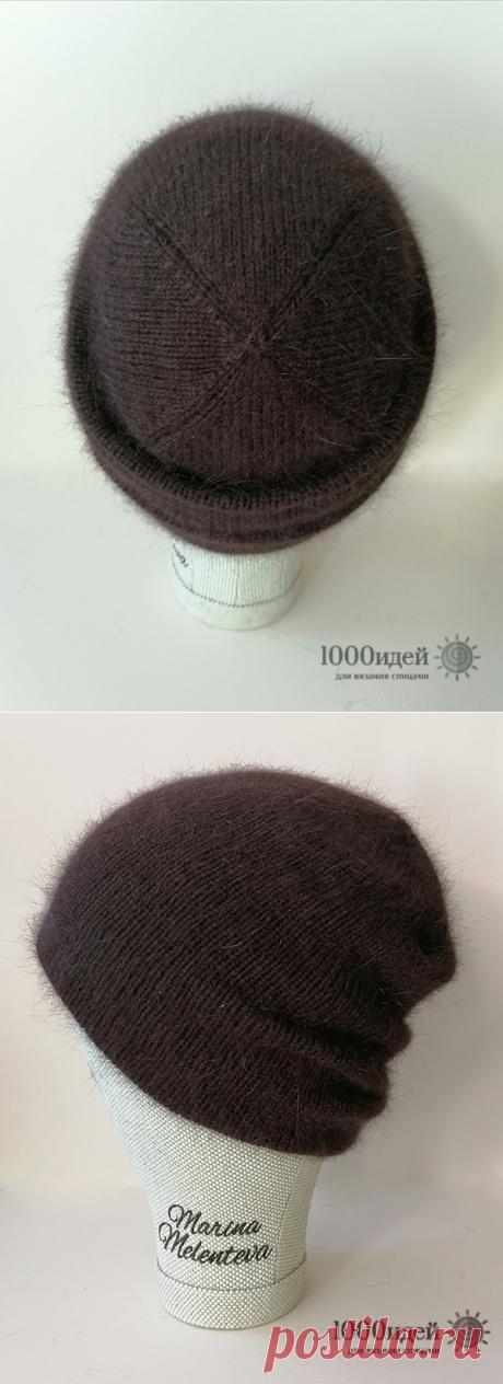 Двойная шапка бини из пуха норки и варежки спицами описание