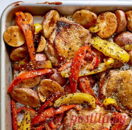 Противень с курицей и овощами Souvlaki. Рецепт на каждый день и на праздник. | Вилка 🍽️ Ложка 🥢 Палочки | Яндекс Дзен