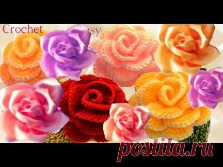 Como tejer a Crochet  flores rosas fácil y rápido