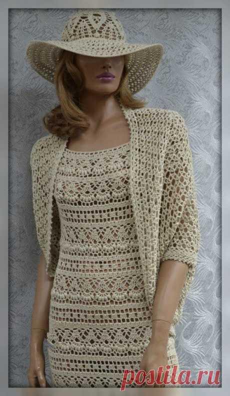 Длинное платье крючком - Красивое вязание