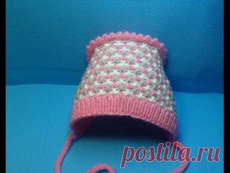 Вязание спицами детская шапочка-чепчик #143