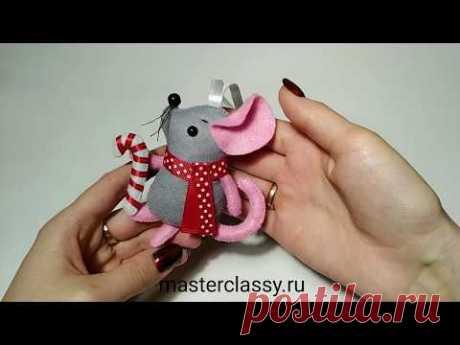 DIY Christmas Tree Ornament. Мышка на Елку своими руками. Как сделать мышку из фетра? Видео урок