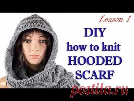 Как вязать капюшон шарф МК 1/Hooded scarf MK1