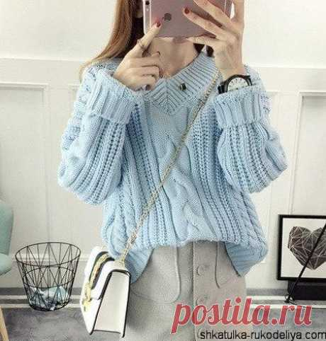 Модный пуловер спицами описание. Связать свитер крупной вязки | Шкатулка рукоделия