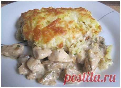 Как приготовить курица с грибами, запечённая под картофельной шубой - рецепт, ингредиенты и фотографии