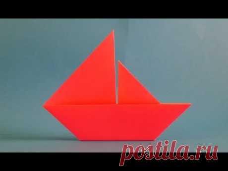 Como hacer el barquito del origami del papel el velero para los principiantes, origami boat