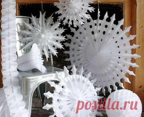 Бумажные снежинки — новогодний декор