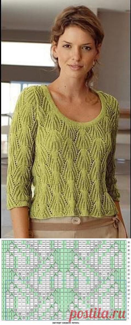 Нежный пуловер для любителей вязать спицами
