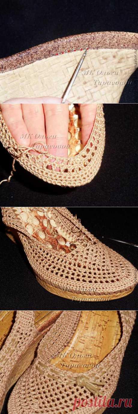 Реставрация обуви... ВЯЗАНЫЕ БОСОНОЖКИ... мастер-класс... ВЕЛИКОЛЕПНО, крючком..