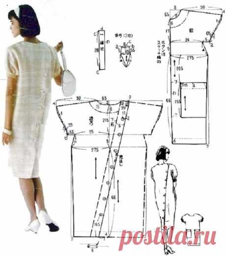 Платье с застёжкой на спине (выкройка) Модная одежда и дизайн интерьера своими руками