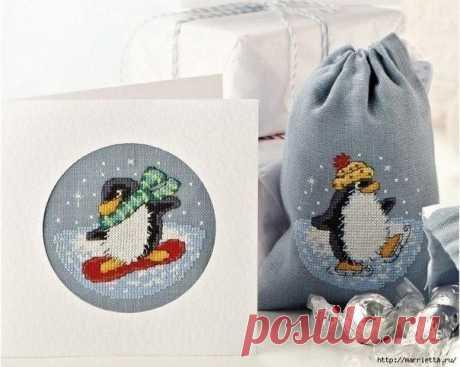 Вышивка пингвинов для подарочных мешочков и открыток