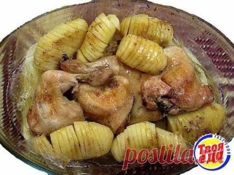 Сочная курица с картошкой в рукаве