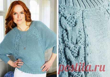 Вязание - модели и схемы: Голубой пуловер с рукавом реглан