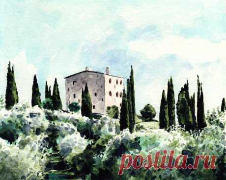 Tuscany Art Italy Painting Italy Watercolor Tuscany Print | Etsy