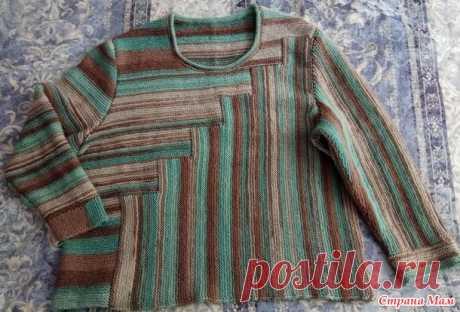 Пуловер из шерсти по мотивам летнего топа платочной вязкой блоками - Вязание - Страна Мам