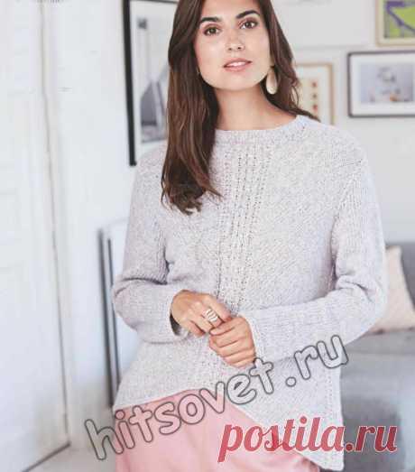Модный вязаный пуловер с центральной косой - Хитсовет