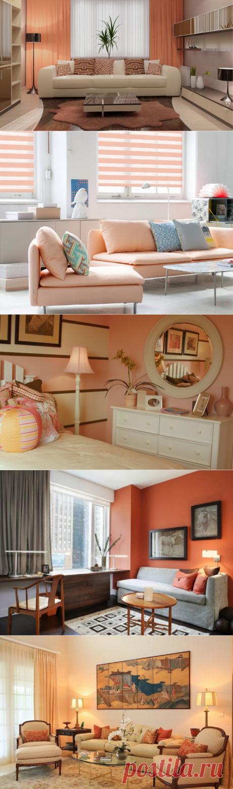 С каким цветом в интерьере сочетается персиковый 45 фото