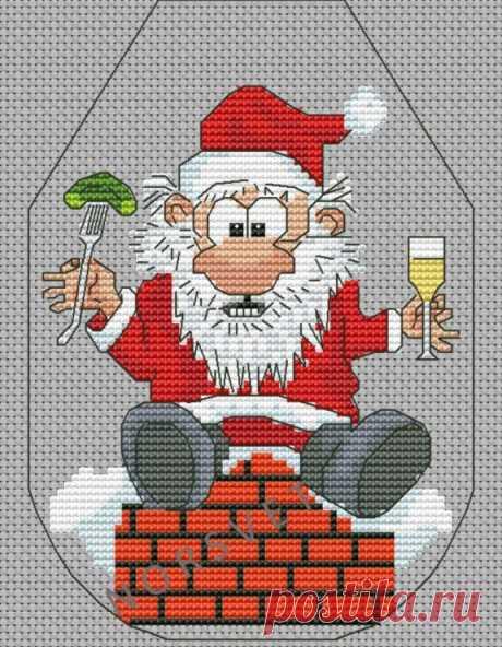 Gallery.ru / Фартук на бутылку. Дед Мороз на Крыше - Новогоднее - Norsvet