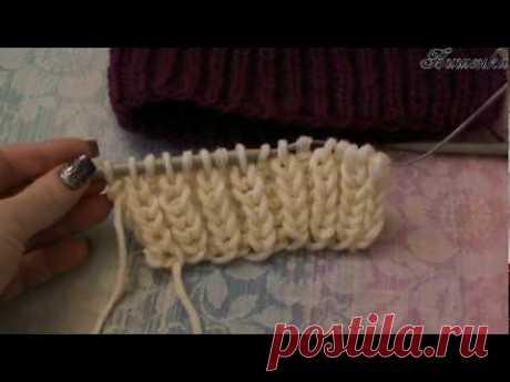 Вязание спицами пышной английской резинки - YouTube