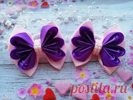 Бантики из лент Канзаши МК / Ribbon bows / Laços de fitas