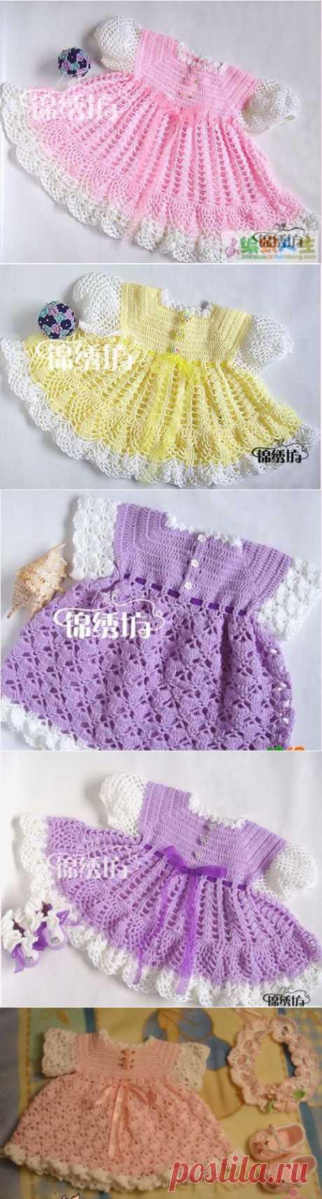 Мастер-класс подробный для вязания таких платьев для малышок.