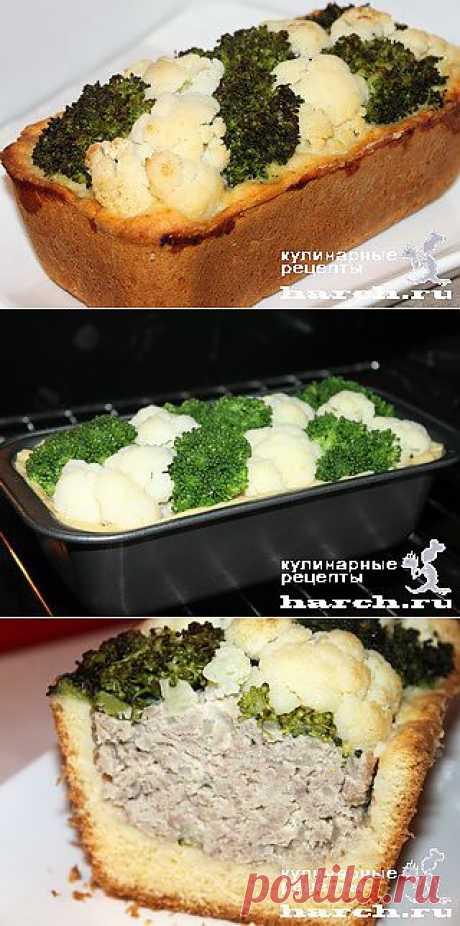"""Песочный пирог с мясным фаршем, брокколи и цветной капустой """"Шахматный"""""""