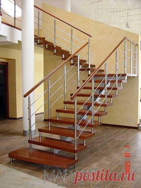 Лестницы, ограждения, перила из стекла, дерева, металла Маршаг – Ограждение деревянной лестницы из нержавейки