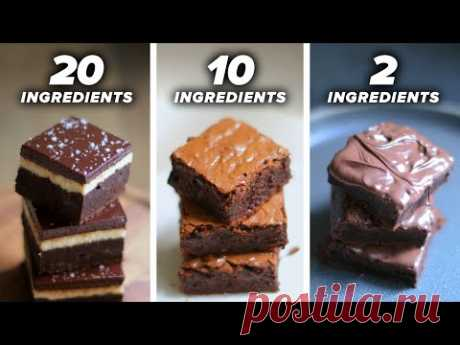 20-Ingredient vs. 10-Ingredient vs. 2-Ingredient Brownie • Tasty