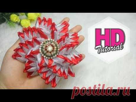 DIY - bros bunga cantik & menawan || Kanzashi Flower || Satin Ribbon Flower || HD Tutorial