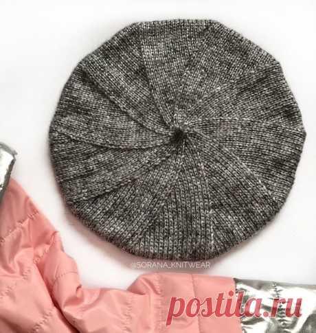 Красивый серый берет спицами из категории Интересные идеи – Вязаные идеи, идеи для вязания