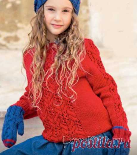 Двухцветные варежки и шапочка с косами для девочки схема » Люблю Вязать